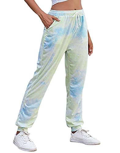 CMTOP Mujer Pantalones Hippies Tailandeses Estampado Verano Cintura Alta Elastica con Bolsillos para Yoga Casual Deportivos Pants
