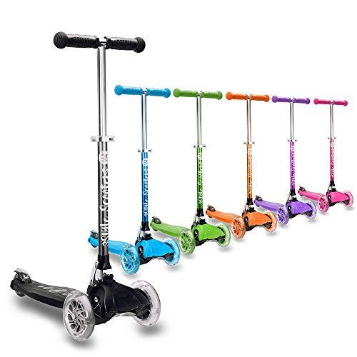 3StyleScooters® RGS-1 Patinete Scooter Tres Ruedas para Niños Pequeños Niños de 3 Años o Más con Luces LED en Las Ruedas, Diseño Plegable, Manillar Ajustable (Negro)