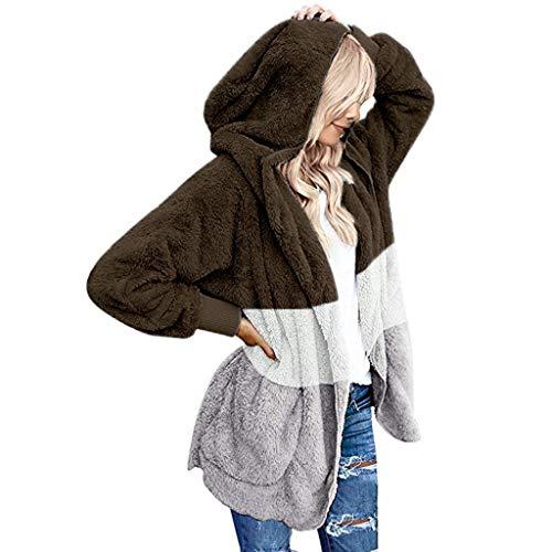 Xiangdanful Damen Winter Warm Kunstfell Mantel Lange Sleelve Cardigan Boyfriend Shearling Fuzzy Jacke mit Taschen Kapuzenmantel Winterjacke Übergangsjacke Plüschjacke Coat Fleece (XL, Braun)