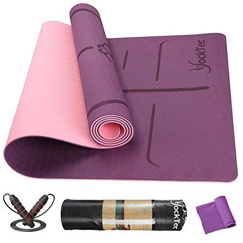YockTec Tappetino Yoga, professionale Tappetino da Yoga Antiscivolo Double-Sided da 183 x 61 x 0.6 cm, Tappeto Fitness TPE Yoga Mat per Pilates Allenamento (Dark purple)