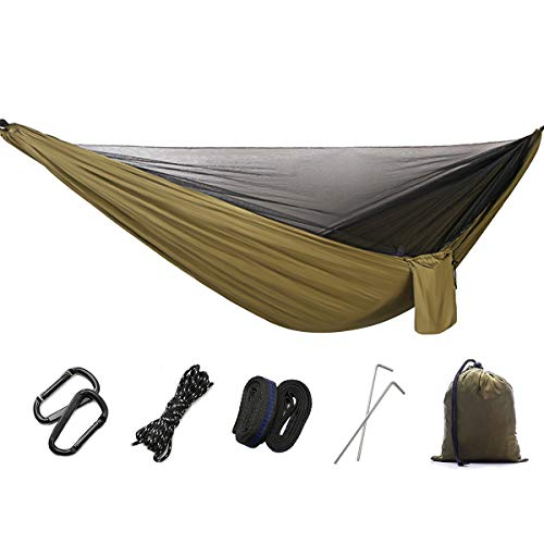 DTNO.I Camping Hammock with Mosquito Net - 2 Person Outdoor Ultra-Light Portable Double & Single Parachute Travel Hammock with Tree Straps for Camping Hiking Backpacking, Camping, Garden & Beach