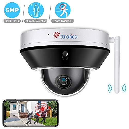 Ctronics 5MP PTZ WLAN Überwachungskamera Aussen IP Kamera HD Überwachungskamera Bewegungserkennung Dome wasserdichte IP65 Kamera Zwei-Wege-Audio (Digital Zoom)