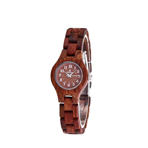 Orologio da uomo Sandalwood Watch, Industrial High-End Handmade, Quartz Business Sports Watch, Health, Romance, Companion's Best Gift, Women's Watch (Color : Red)