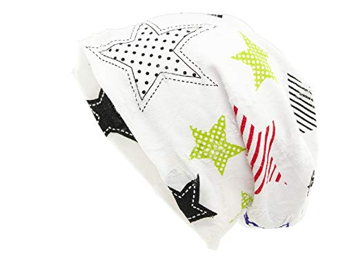 Shenky - Long Bonnet brodé - Jersey - Motif étoile - Blanc/coloré