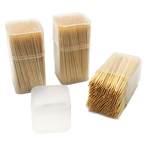 Round Wooden Toothpick 3 Portable Dispensers with 350 Pieces Tooth Picks Per Holder 3 Tubs of 350 pieces