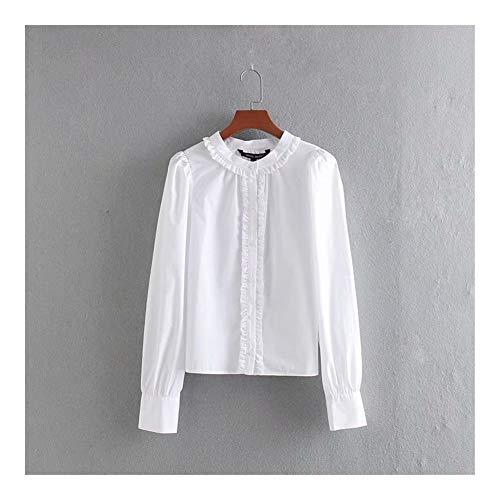 LANGPIAOEZU Frauen Schulter Laminat Popelinehemd Weißes Hemd fit Flowy (Color : White, Size : S)