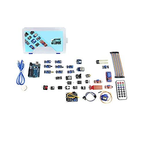 No application 34 Stück/Set IOT Kit Tragbares Relaisnetzteilmodul Schaltmodul LED Anfängerfreundlich Professionell Bequem Sensormodul Starter Kit mit Kunststoffbox für Arduino