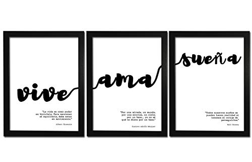 Láminas Decorativas con Marco. Set de 3 Cuadros Modernos Estilo nórdico de Frases Motivadoras en Blanco y Negro [Vive, AMA, SUEÑA]. Láminas Enmarcadas para Salón Tamaño A4.