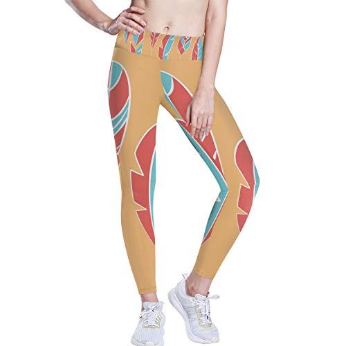 DEZIRO hoge taille yoga broek blauw en roze vogel veren yoga broek met tummy controle, 4 manieren stretchtraining hardlopen yoga legging