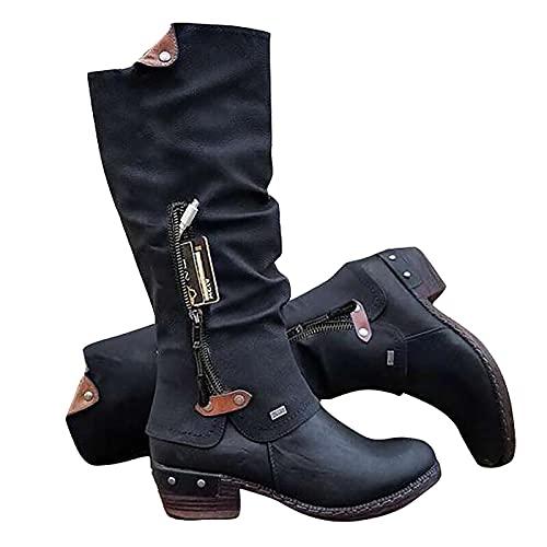 LLDG Damen Langschaft Stiefel Einfarbige Biker Boots Vintage Overknee Stiefel Cowboy Stiefel mit Reißverschluss Mode-Stiefel mit Blockabsatz Modische Motorradstiefel aus Leder Winterstiefel