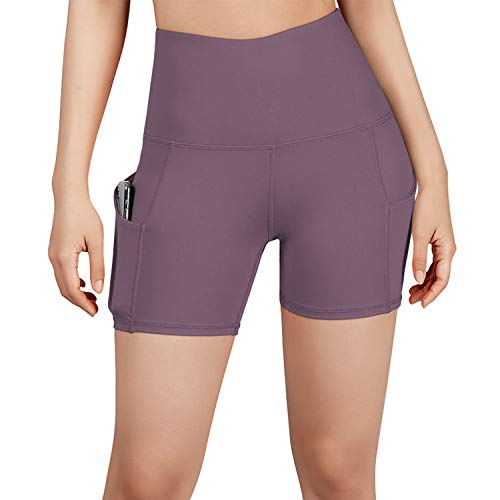 ODODOS High Waist Out Pocket Yoga Short Tummy Control Workout Running Athletic Non See-Through Yoga Shorts,Lavender,Small