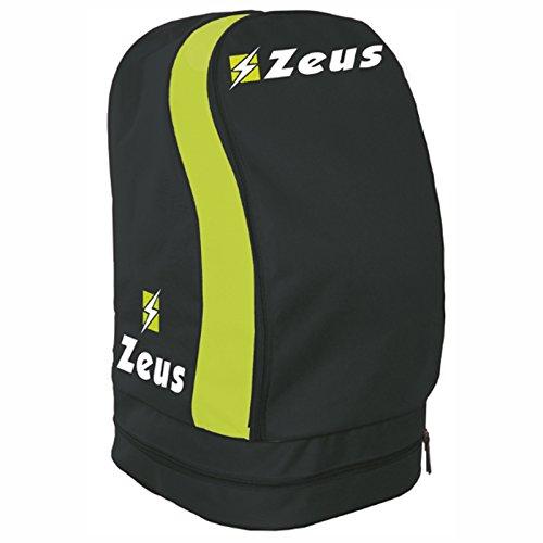 Zeus Zaino ULYSSE Borsa A Spalla Calcio Calcetto Basket Piscina Tennis Sport 33 X 30 X 52 cm (Grigio Scuro-Giallo Fluo)