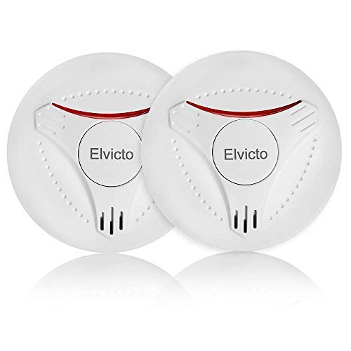 Elvicto 2 Pack Photoelectric Smoke Detector Sealed-in 10 Year Lithium, Battery-Operated Fire Alarm...
