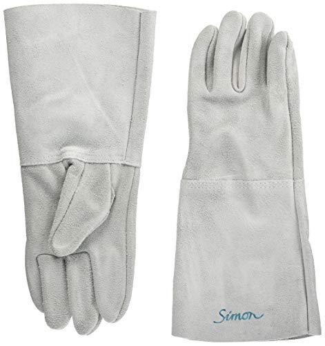 シモン 牛床革 5本指 溶接用手袋 全長約35cm 122DK フリーサイズ(1双)