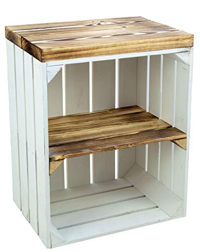 Bandeja, caja de asiento, caja de madera de Johanna, caja de fruta y tablones de madera maciza, zapatero, taburete de madera, dimensiones 40 x 29 x 53 cm, color blanco y flameado