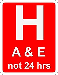 Pack of 5 Hospital Ahead with Accident and Emergency Facilities Road Safety Sign 60x40cm Warning Sign Stickers Danger Safety Hazard Notice Sign Lable Decal Self Adhesive