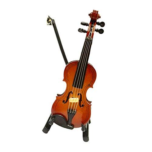 Sharplace 1/12 Puppenhaus Miniatur Musikinstrument Holz Geige Violine mit Bogen Ständer, Koffer für Puppenstube Dekor