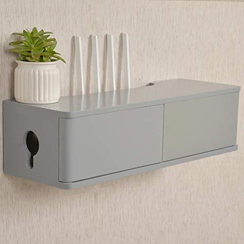Estante de almacenamiento de enrutador flotante, gabinete de TV montado en la pared, material de madera maciza, buena capacidad de carga, a prueba de humedad y a prueba de polvo, adecuado para en