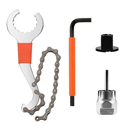 QKURT Fahrrad Schwungrad Entferner Sprocket Remover Werkzeugset, Fahrrad-Kassette-Entfernungswerkzeug mit Kettenpeitsche + Hilfsschlüssel +Rotor Lockring Entfernung mit Pin +Kettenradentferner
