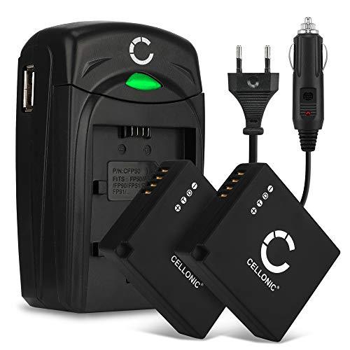 CELLONIC 2X Batería Compatible con Panasonic Lumix DMC-LX100 DMC-GX80 DMC-TZ80 -TZ81 -TZ100 -TZ101 DC-TZ90 DC-GX9 D-Lux 7 Typ 109, DMW-BLE9 DMW-BLG10 BP-DC15, Cargador DE-A98A DE-A99B Pila Repuesto