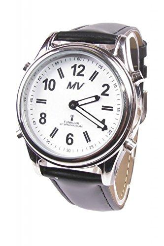 Sprechende Funk-Armbanduhr Damen & Herren Lederarmband Stile Herrenuhr