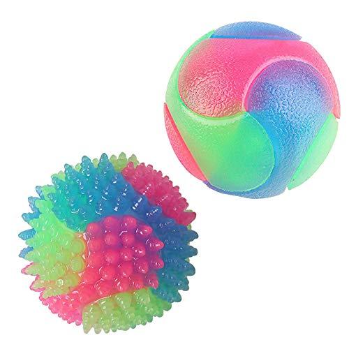 A/A Blinkender Ball Hundespielzeug Ball Hundeball Leuchtend Glow Ball Hundespielball Ball Spielzeug für Hundes und Reinigen Sie Ihre Zähne (2 Stück/S + L)