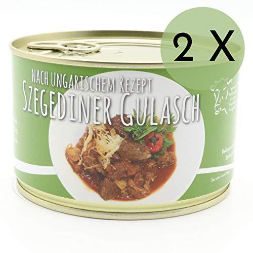 2 X Konserve Diem Szegediener Gulasch vom Rind und Schwein - Klassisch mit Kraut - 240g Fleischeinwage - lange haltbar (14,88€ / Kg)