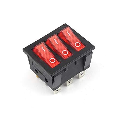 Security Accessory Botón KCD3 Big Rocker Cambia el Interruptor de Tres vías Rojo 9 Pin 2 Position Multi Chase DE UN Solo Trabajo 15A 250V 20A 125VAC CA on-Off