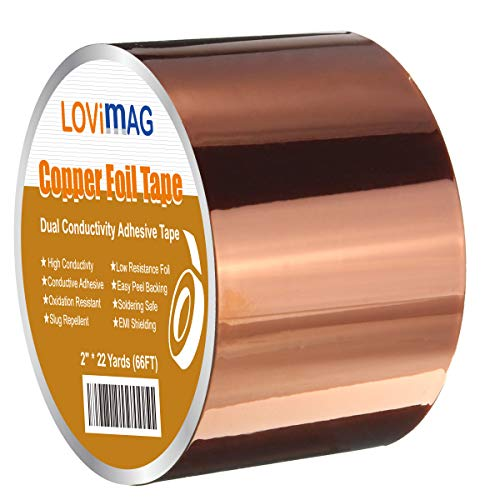 Copper Foil Tape (2inch X 33 FT) with Conductive Adhesive for Guitar and EMI Shielding, Slug Repellent, Crafts, Electrical Repairs, Grounding