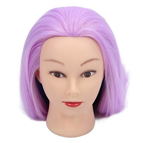 Cabeza de maniquí de cabello sintético de alta temperatura para peinado, cabeza de maniquí de peluquería, duradera de usar, fácil peinado para estilista de peluquero(Light purple)