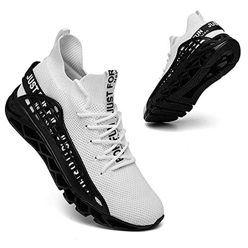 TUDOU Laufschuhe Herren Straßenlaufschuhe Sportschuhe Sneaker Herren Turnschuhe Joggingschuhe Walkingschuhe Traillauf Fitness Schuhe Gr.39-48 (Weiß, Numeric_48)