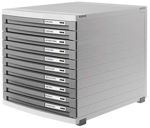 HAN Schubladenbox CONTUR 1510-19 in Lichtgrau/Dunkelgrau/Modernes, erweiterbares Organisationssystem/Mit 10 geschlossenen Schubladen