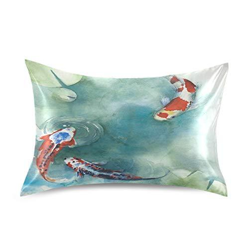 HaJie Funda de almohada de satén de acuarela Koi peces japoneses, 100% poliéster, funda de almohada para cabello y piel, tamaño Queen 50,8 x 76,2 cm, 1 unidad