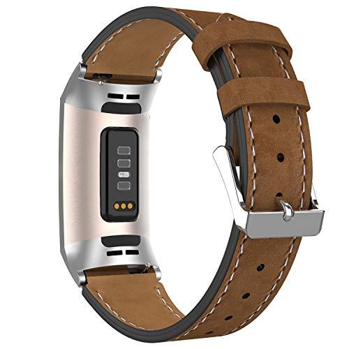 Adepoy für Fitbit Charge 3 Armband Leder, Echtes Klassisches Einstellbares Lederarmband Kompatibel mit Fitbit Charge 3 und Charge 3 Sonderedition (Dunkelmattbraun)