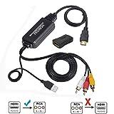 HDMI to RCA変換ケーブル HDMI to AVコンバータデジタル 3RCA/AV 変換ケーブル TV/HDTV/Xbox/PC/DVD/Blu-ray Player/PAL/NTSCテレビ HDMI RCA/AVコンバータ コンポジットケーブル