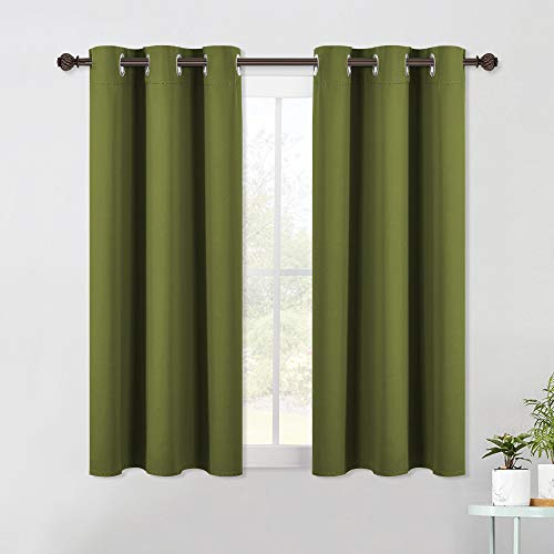 NICETOWN Living Room Window Curtain Panels, Thermal Insulated Solid Grommet Blackout Draperies/Drapes (One Pair, 42 by 54-Inch, Olive Green)