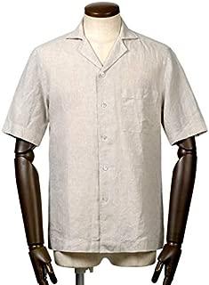バグッタ BAGUTTA / 【国内正規品】 19SS!ヘビーリネンポプリン半袖オープンカラーシャツ『MAUI』 (ベージュ) メンズ