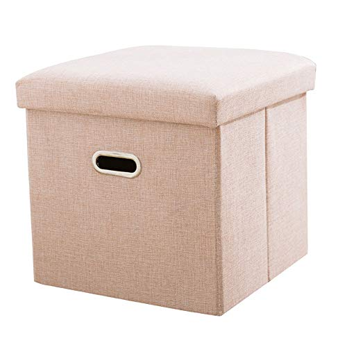FLYFASH Storage Cube, Linen Small Coffee Table, Foot Rest Stool Seat, Folding Toys Chest Collapsible for Kids (Color : Pink, Size : L)