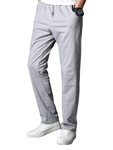 EYIIYE Men 's Slim Fit Breathas Fashion Solid Color Drawstring Straight Casual Trousers (Light Gray, XXL)