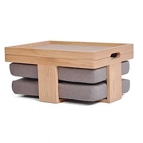 Couchtische Kleiner Tisch Beistelltisch Tatami-Plattform Niedriger Tisch Kreativer Balkon Erker-Fenstertisch Massivholz Japanischer Teetisch Kleiner Tisch Mit Kissen (Color : Gray)