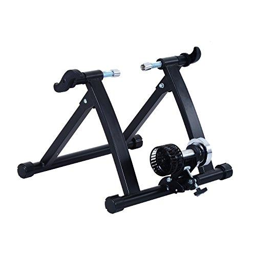 HOMCOM Home Trainer vélo Support d'entrainement Pliable pour vélo de Route VTT Acier Noir