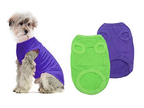YAODHAOD Cotton Hundekleidung Einfarbige Hunde-T-Shirts Kleidung, Baumwollhemden Weich und atmungsaktiv, Hundehemden Bekleidung Fit für kleine extra kleine Hundekatze 2 PCS Hellgrün/Violett, L
