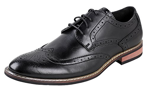 Urban Fox Men's Ethan Oxford Dress Shoes for Men | Formal | Lace-Up | Classic Design | Wingtip | Mens Dress Shoes Black 9