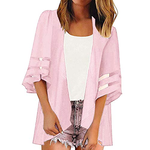 Great Price! Beihxwe Women Summer Casaul Chiffon Patchwork Blouse 3/4 Bell Sleeve Solid Color Kimono...