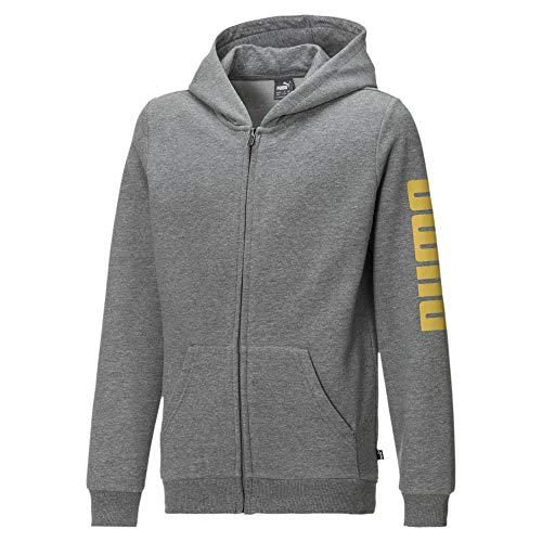 PUMA Jungen Fleece Sweatjacke mit Kapuze Medium Gray Heather-Yellow 152