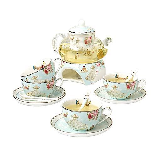 JCXOZ El Sistema de té - 15 Pedazos de Las Flores Juegos de té de cerámica, Cristal Desmontable Infusor de té de Hojas Sueltas - Celebración Floración Juego de té Regalo