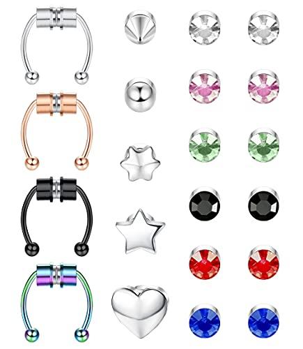 TEN MIRO 21Pcs Magnetic Septum Nose Ring Horseshoe Fake Nose Ring Hoop Stainless Steel Non Piercing Clip on CZ Earrings Magnetic Stud Earrings for Women Men