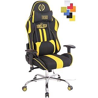 CLP Silla Gamer con Funcion De Masaje Limit XM I Silla Racing Tapizada En Tela I Silla Gaming Ajustable & con Respaldo Reclinable I Color: Negro/Amarillo