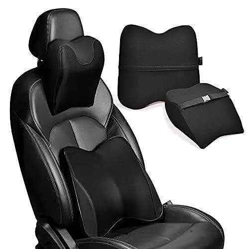 LUXXE Car Neck & Back Pillow Set - Neck & Lumbar Support Pillow for Chair, Car Seat, Wheelchair, Gaming, Office Chair - Enhanced Comfort Memory Foam Headrest & Back Cushion -Car, Office, Gaming, Desk