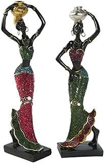Taotenish 2pcs African Sculpture Women Figure Girls Tribal Lady Figurine Statue Decor Collectible Art Creative Crafts Doll...